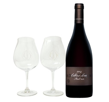2014 Calkins Lane Pinot noir with Glasses